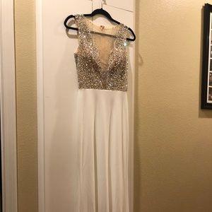 White Blush Sequined Prom Dress